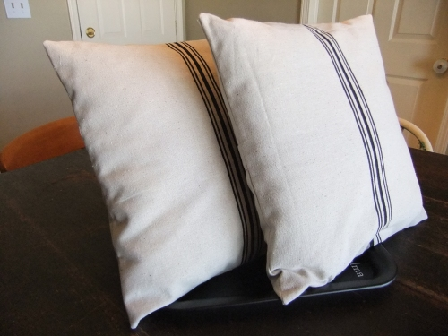 Faux Grain Sack Pillows