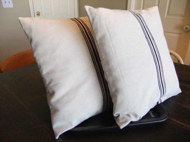Faux Grain Sack Pillows